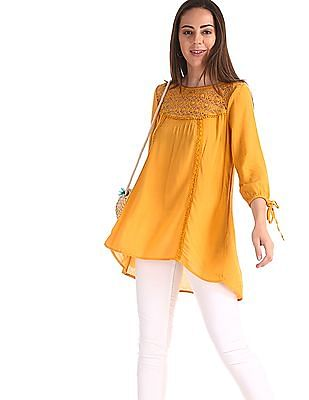 Cherokee Yellow Lace Panel Crinkled Top