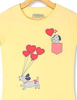 Cherokee Yellow Girls Crew Neck Printed T-Shirt
