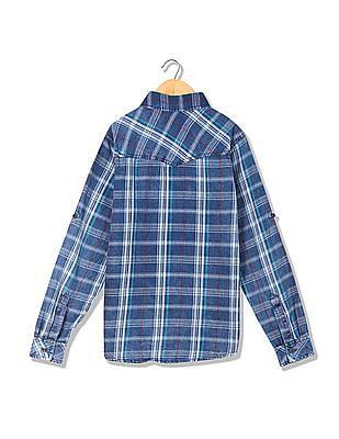 Cherokee Boys Spread Collar Checked Shirt