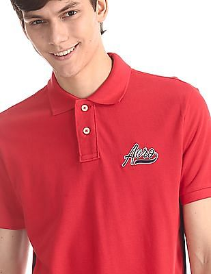 Aeropostale Red Shoulder Tape Pique Polo Shirt