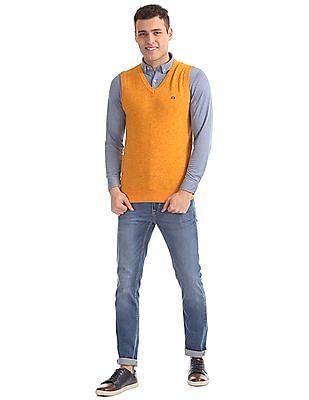Arrow Sports Regular Fit Heathered Sweater Vest