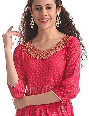 Anahi Pink Metallic Print Anarkali Kurta