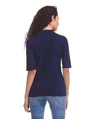 U.S. Polo Assn. Women Polo Collar Knit Top