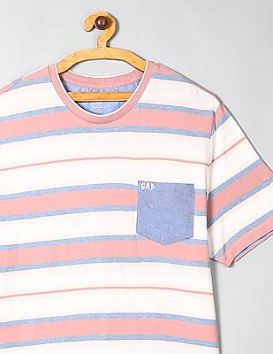 GAP Pink Crew Neck Logo Striped T-Shirt