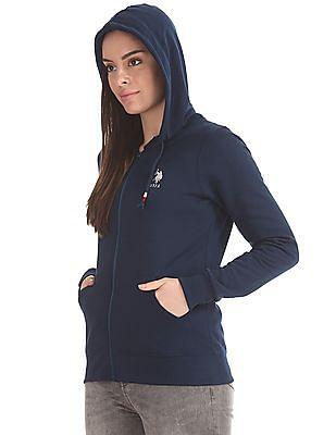 U.S. Polo Assn. Women Zip Up Hooded Sweatshirt