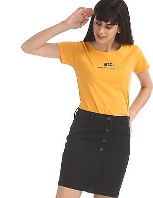 SUGR Yellow Cotton Printed T-Shirt