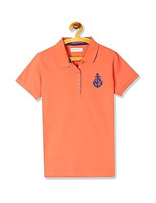 Flying Machine Women Orange Solid Cotton Stretch Polo Shirt