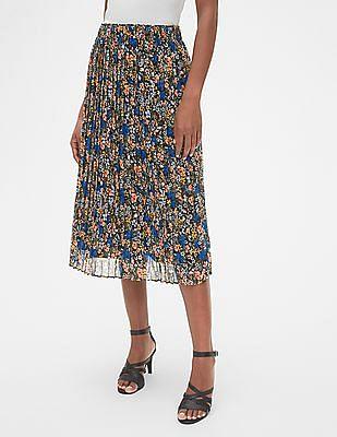 GAP Floral Print Pleated Midi Skirt