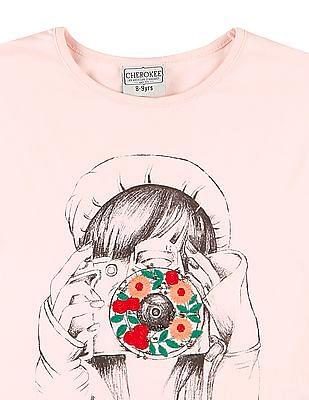 Cherokee Girls Embroidered Front Tie Up Hem Top