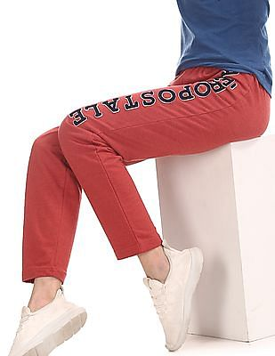 Aeropostale Red Brand Applique Knit Track Pants