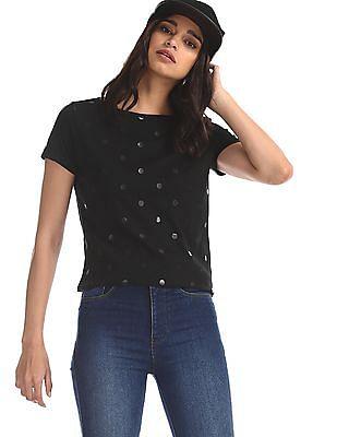 Flying Machine Women Black Polka Dot Print Cotton T-Shirt