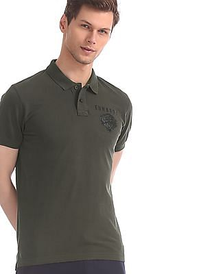 Ed Hardy Green Solid Pique Polo Shirt