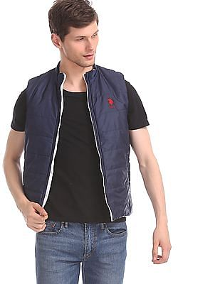 U.S. Polo Assn. White And Navy Reversible Gilet Jacket