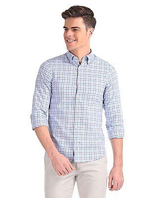 Gant Tech Prep Oxford Plaid Slim Hidden Button Down Shirt