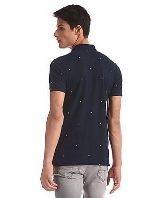 Arrow Sports Blue Alphabet Print Pique Polo Shirt