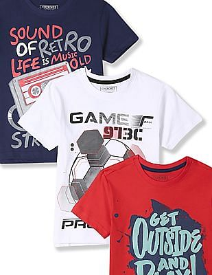 Cherokee Boys Contrast Graphic Crew Neck T-Shirt - Pack Of 3
