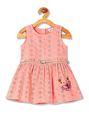Donuts Girls Sleeveless Embroidered Dress