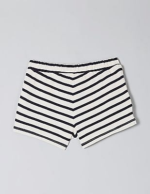 GAP White Girls Drawstring Waist Striped Shorts
