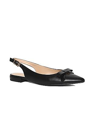 Stride Black Bow Accent Point Toe Sandals