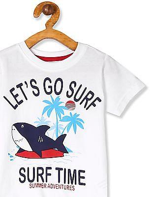 Cherokee White Boys Crew Neck Graphic T-Shirt