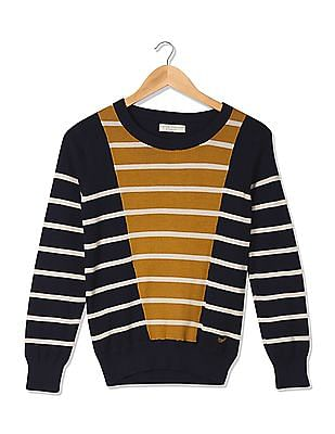 Flying Machine Women Crew Neck Striped Sweater