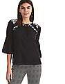 Cherokee Black Bell Sleeve Embroidered Top