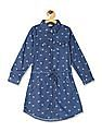 Cherokee Blue Girls Printed Shirt Dress