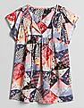 GAP Women Multi Colour Patchwork Short Sleeve Smock Top