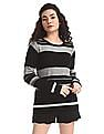 Cherokee Grey And Black Crew Neck Striped Sweater