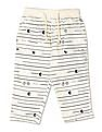 Donuts White Boys Drawstring Waist Striped Track Pants