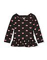 The Children's Place Toddler Girl Black Long Sleeve Printed Peplum Top