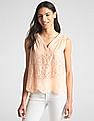 GAP Sleeveless Eyelet V-Neck Blouse