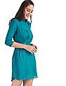 Cherokee Green Spread Collar Solid Dress