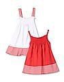 Day 2 Day Girls Solid Strappy Dress - Pack Of 2