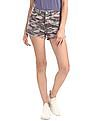 Aeropostale Purple Camo Print Denim Shorts