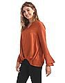 Cherokee Pleated Front Bell Sleeve Top