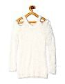 Cherokee White Girls Long Sleeve Cold Shoulder Sweater