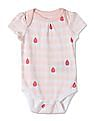 GAP Baby Pink Rainbow Picot-Trim Bodysuit (3-Pack)