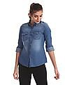 Flying Machine Women Blue Snap Button Placket Washed Shirt