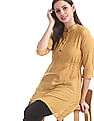 Bronz Yellow Spread Collar Printed Tunic
