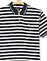 Roots by Ruggers White and Navy Striped Pique Polo Shirt