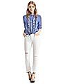 GAP Women Blue Embroidered Raw Edge Shirt